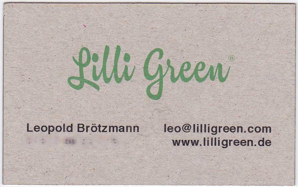 Recycling Visitenkarten Lilli Green