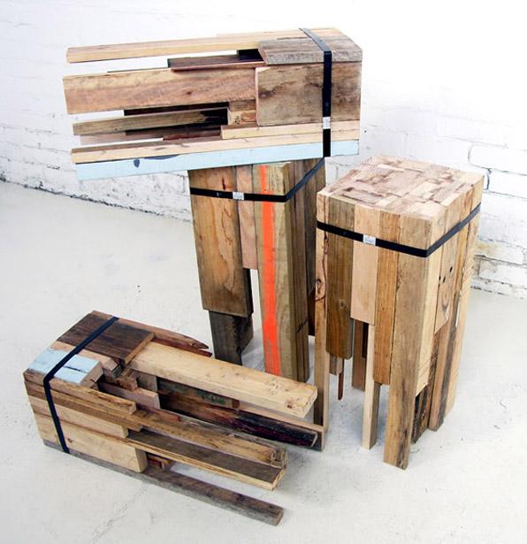 recycling hocker aus holzresten lilli green. Black Bedroom Furniture Sets. Home Design Ideas