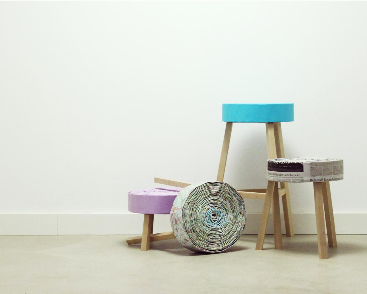 v llig von der rolle recyclinghocker barhocker und pouf. Black Bedroom Furniture Sets. Home Design Ideas
