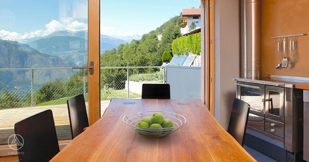 Gesundes Bauen und Wohnen. Bild: Kuechendesign Oekohaus von Baufritz
