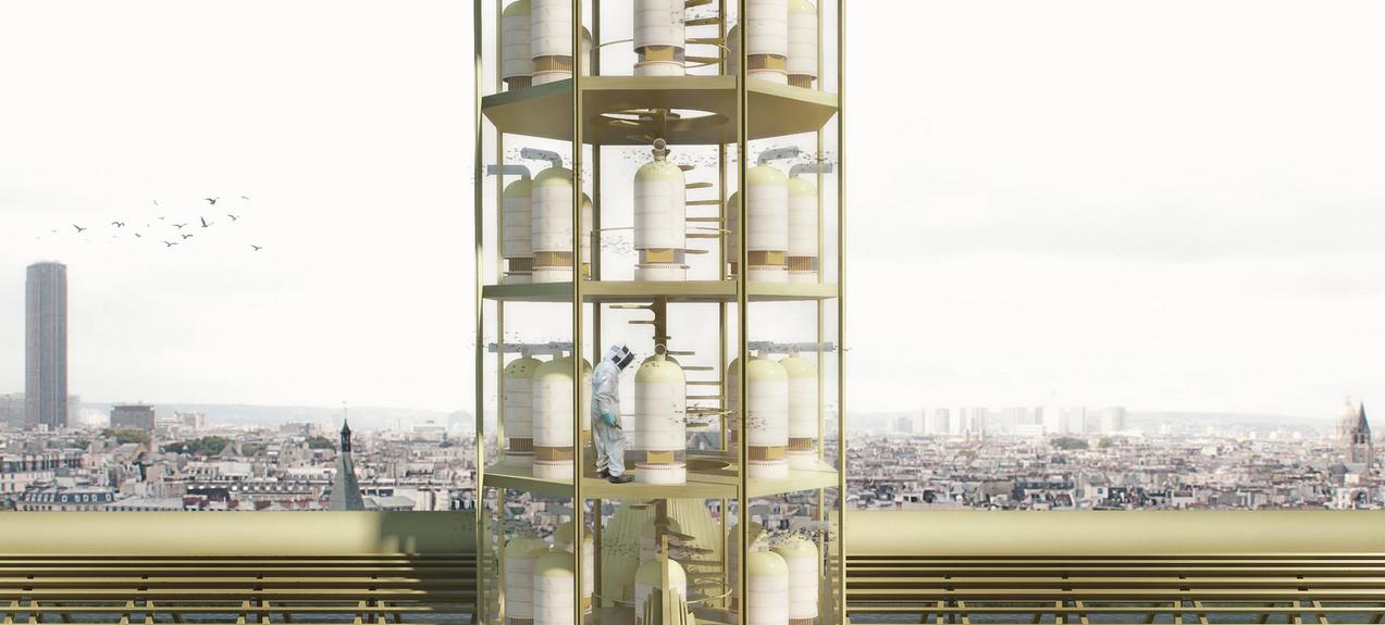 Gruene Architektur - Entwurf - Bienen Turm des Notre Dames