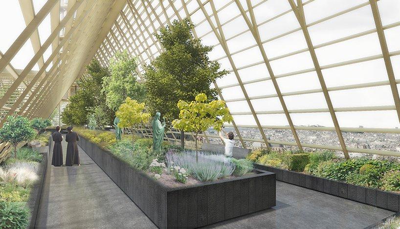 Gruene Architektur - Entwurf -Dachgarten des Notre Dames