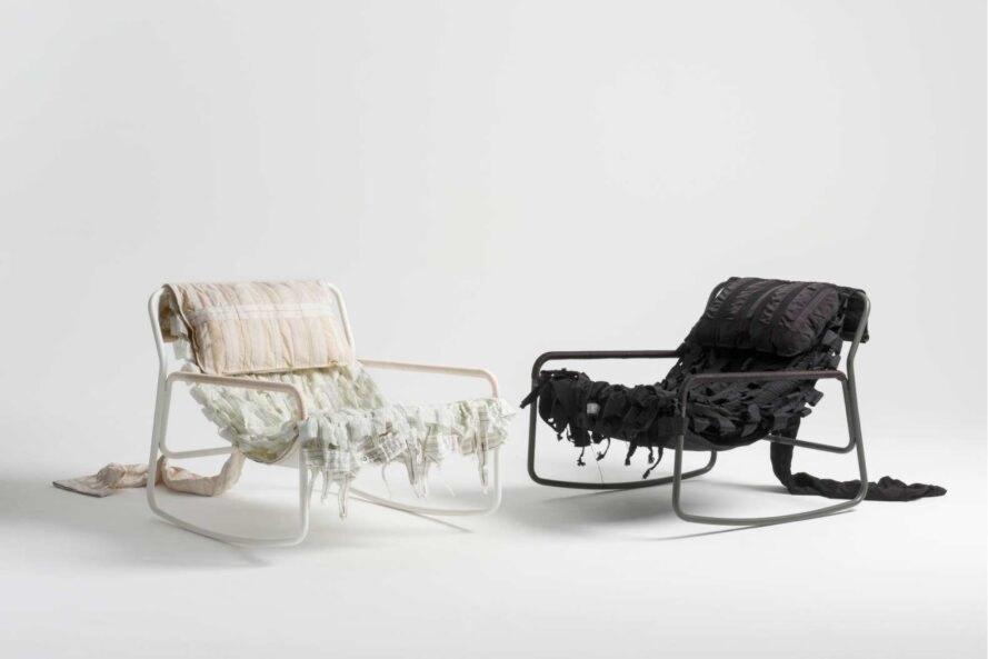 Upcycling Designer Stuehle schwarz und weiss