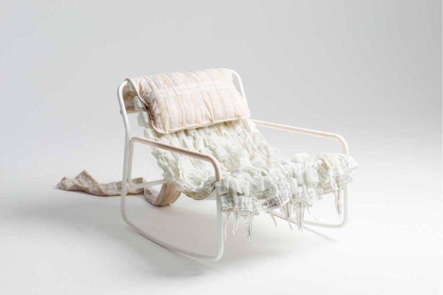 Upcycling Moebel weisser Stuhl