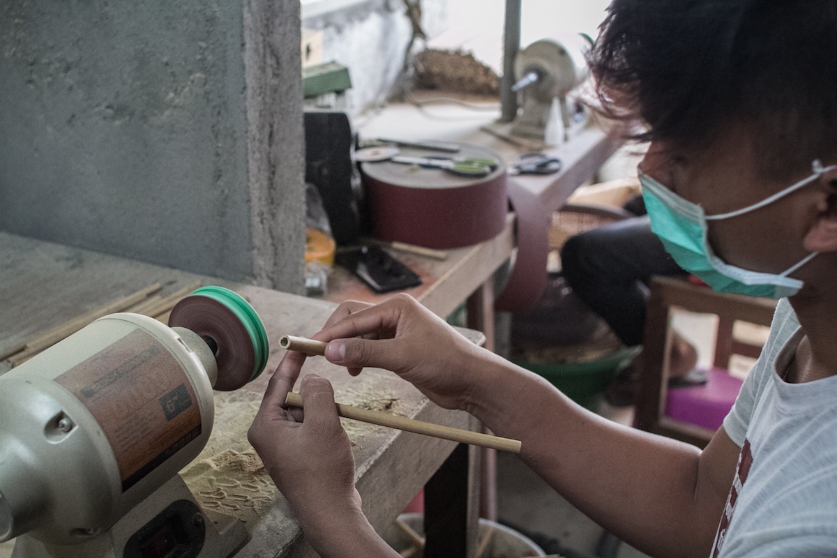 Bambusstrohhalme Produktion