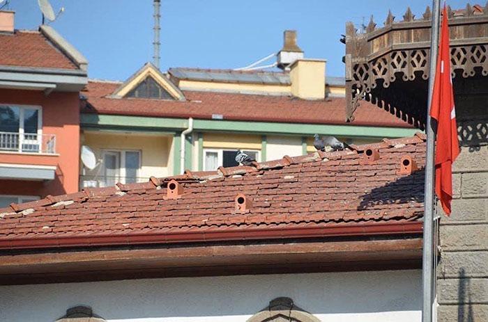 Vogelhaus auf Dachziegel