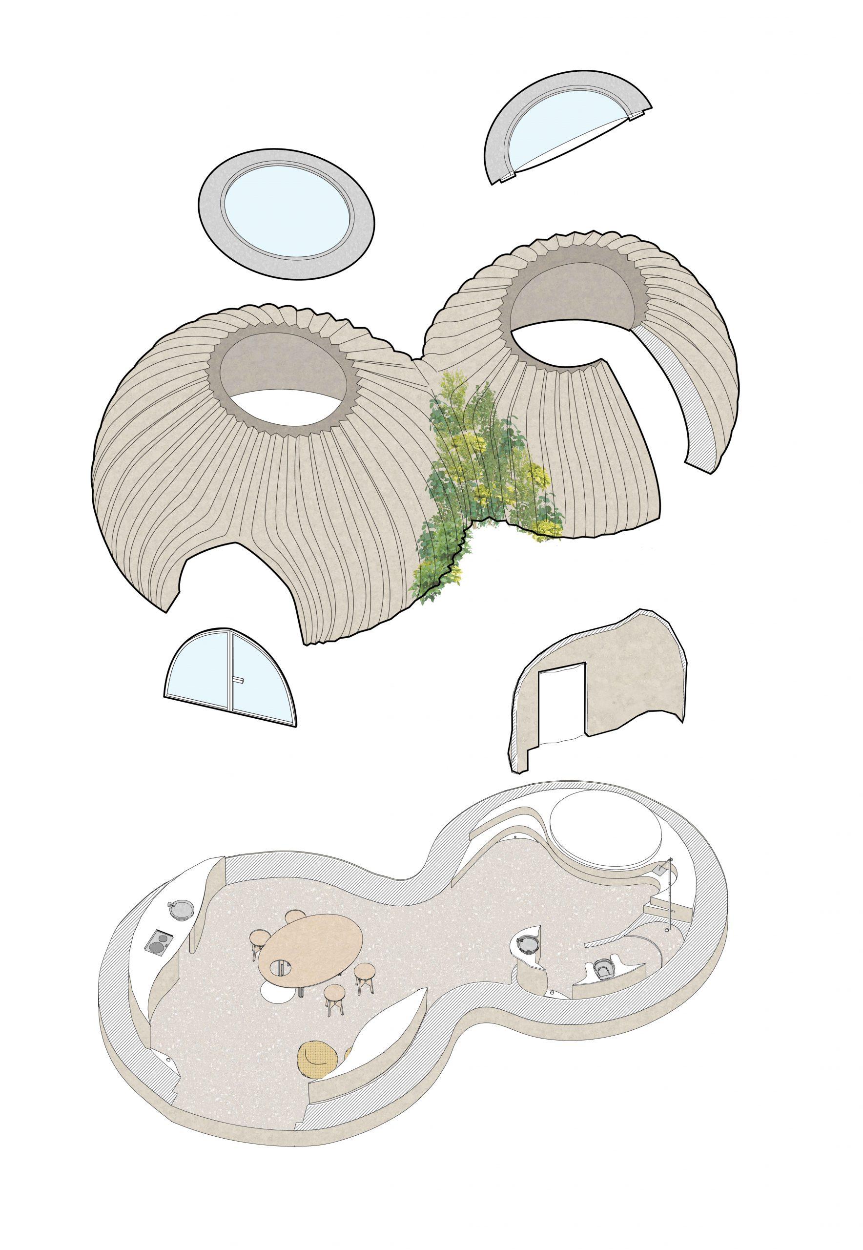 Lehmhäuser Architektur Skizze - Hausbau aus dem 3D Drucker